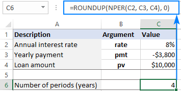 Use NPER together with ROUND to get the whole number of periods.