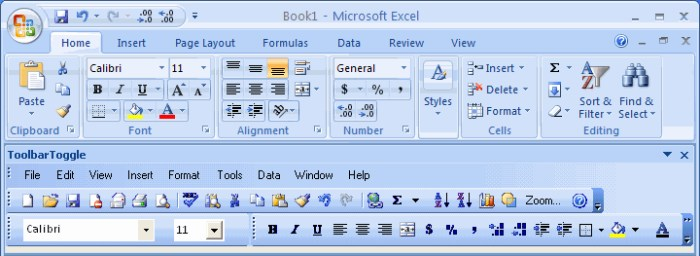 ToolbarToggle add-in: get 2003 toolbar in Office 2007-2010