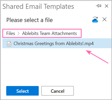 Select the necessary file in your OneDrive