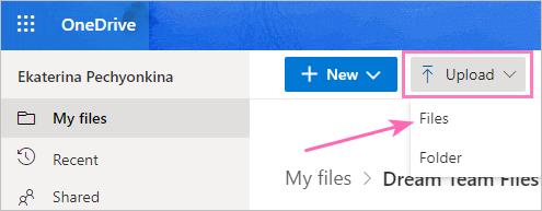Upload a new folder into OneDrive