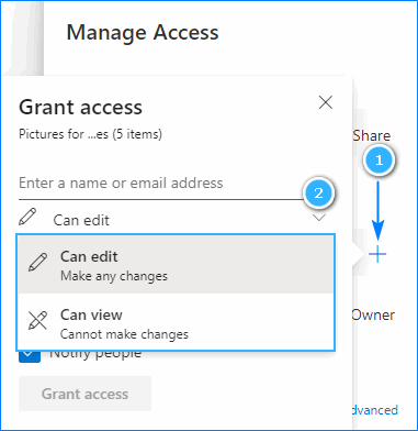 Grant access and set permissions to a folder in OneDrive