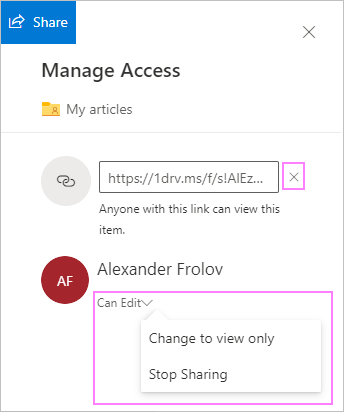 Stop sharing OneDrive files