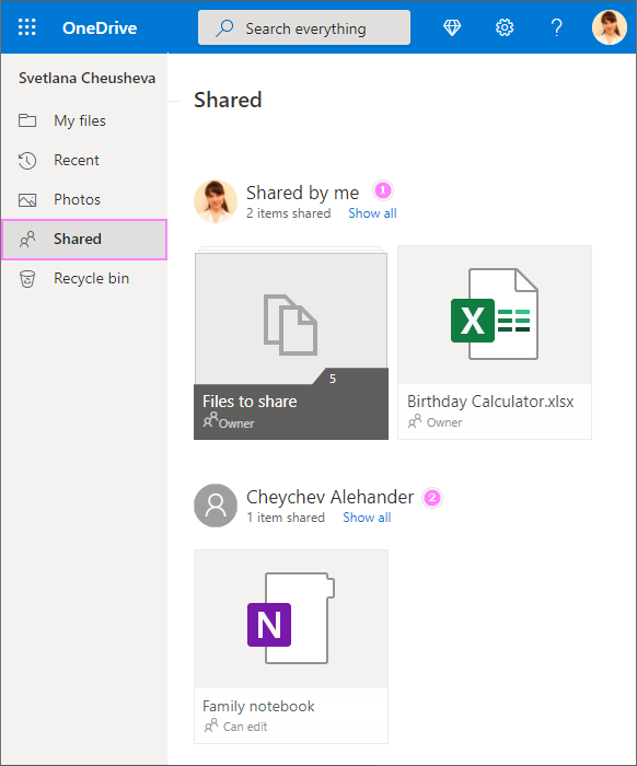 See shared files and folders in OneDrive personal