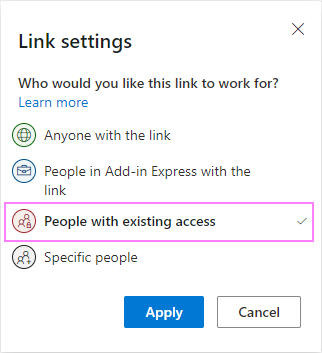 Send a share link to people with existing access