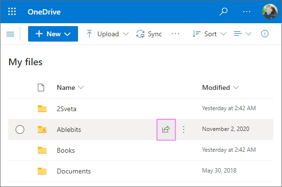 The Share button in OneDrive for Business