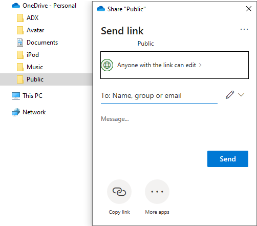 Share OneDrive files and folders from Windows Explorer