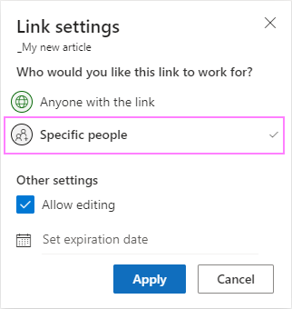Sharing OneDrive files with specific people