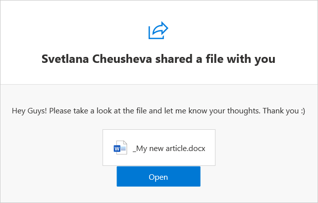 A link to the shared file is sent to the specified people.
