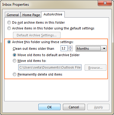 Apply different archive settings for a given folder.