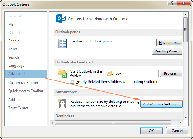 Click File > Options > Advanced > AutoArchive Settings...