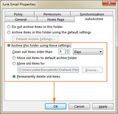 Configure Outlook AutoArchive to empty Deleted Items and Junk E-mail folders automatically.