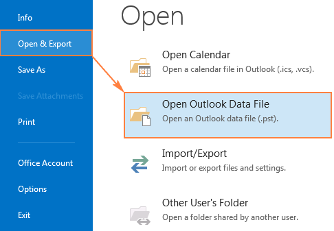 Click Open Outlook Data File to display the Archive folder in Outlook.