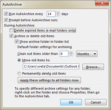 The default Outlook Auto Archive settings