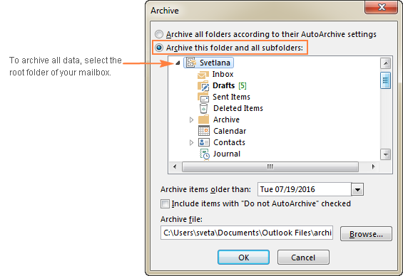 To archive all emails, calendars and tasks, select the root folder in your Outlook inbox.