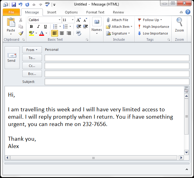 Out of office auto response in Outlook without Exchange, Gmail and ...