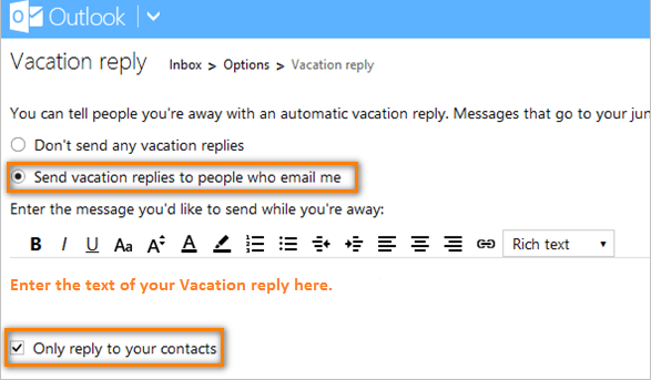 Send vacation replies to people who email me