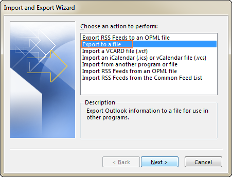 Select Export to a file, and click Next.