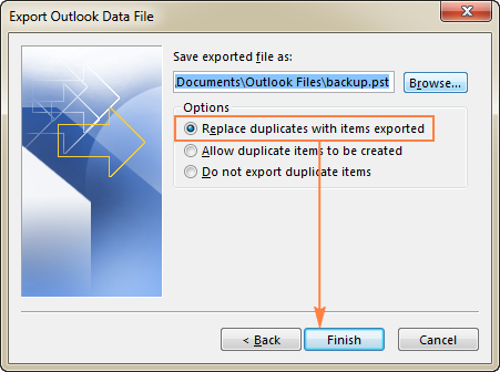 Select the desired option to deal with duplicate items.