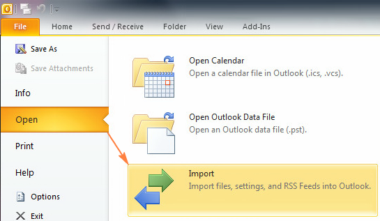 Importing the .pst file to Outlook 2010