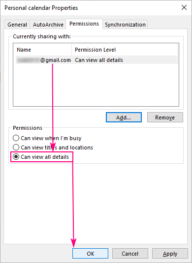 Select the level of permissions.