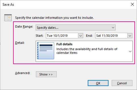 Specify the details to include in the exported iCal.