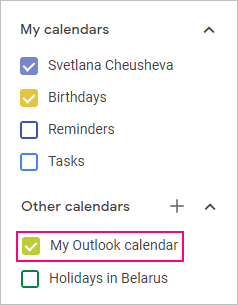 An Outlook calendar is added to Google.