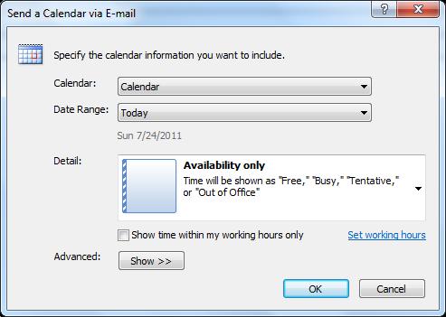 Send Outlook calendar via email