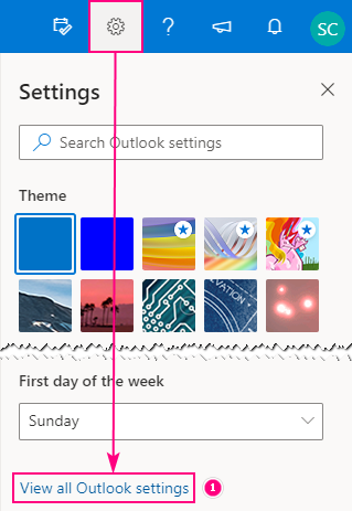 View all Outlook settings