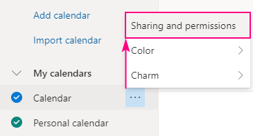 Outlook calendar sharing and permissions