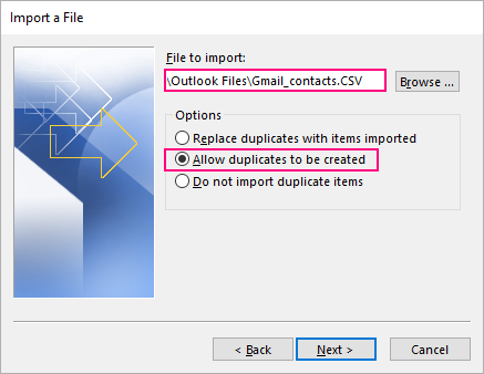 Select the CSV file to import and choose how to handle duplicate contacts.
