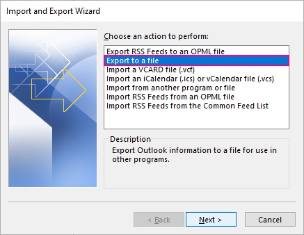 Export Outlook contacts to a file