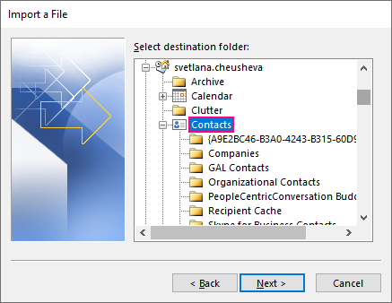 Choose the folder into which to import contacts.