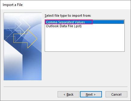 Import contacts from a CSV file.