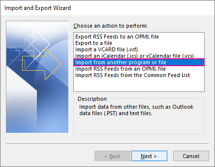 Importing contacts into Outlook from another program or file