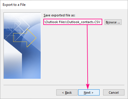 Select the destination folder and name your CSV file.