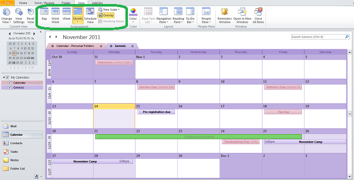 Customize the Calendar view