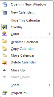 Use the right-click menu for customizing your calendar view