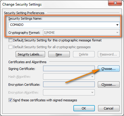 Set up the signing certificate in Outlook.
