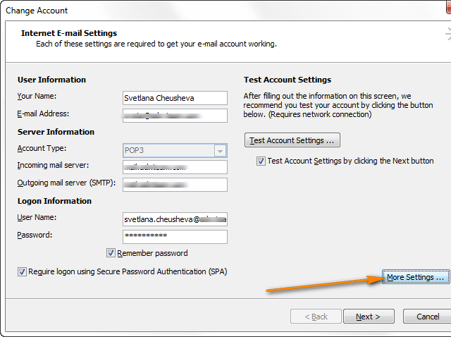 Configuring an encrypted connection (SSL) in Outlook