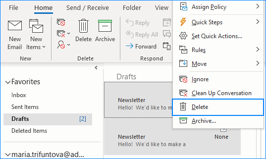 Select and remove several Outlook drafts.
