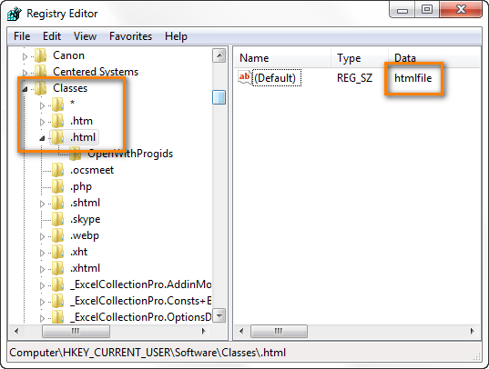 Verify that the Default value of HKEY_CURRENT_USER\Software\Classes\.html is htmlfile.