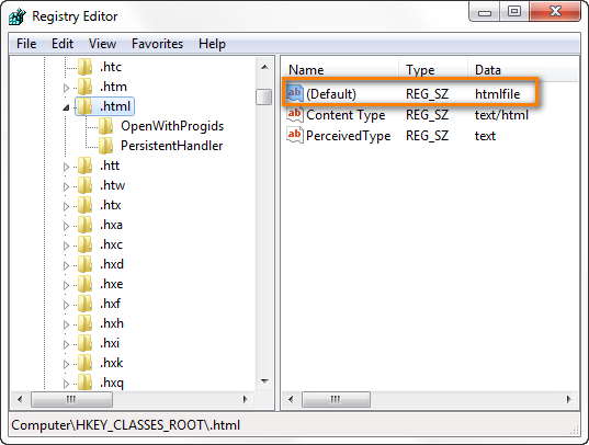 Make sure the Default value of the HKEY_CLASSES_ROOT \.html key is htmlfile.