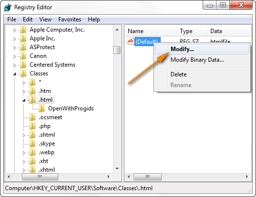 If the Default value is ChromeHTML or FireFoxHTML, change it to htmlfile.