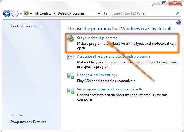 Go to Control Panel > Default Programs to set your default programs.