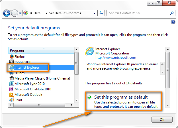 Set Internet Explorer as default program.