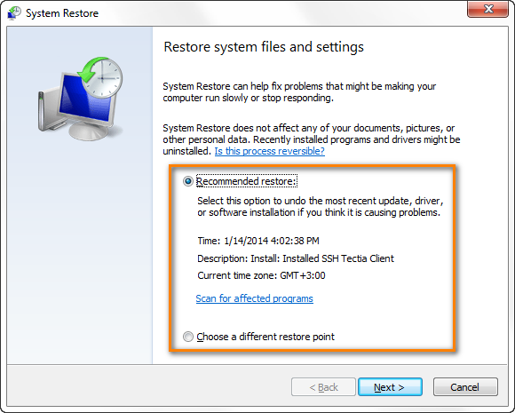 Restore your system to an earlier point in time when everything worked fine.