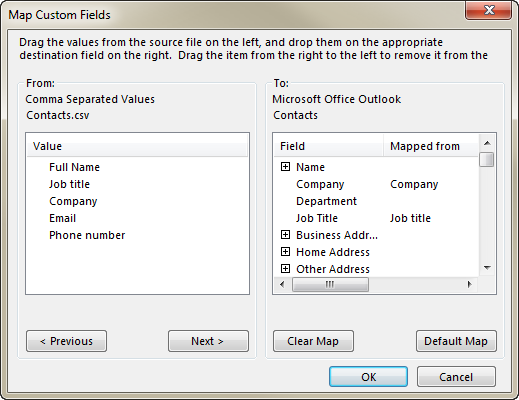 See the From: and To: sections on the Map Custom Fields dialog