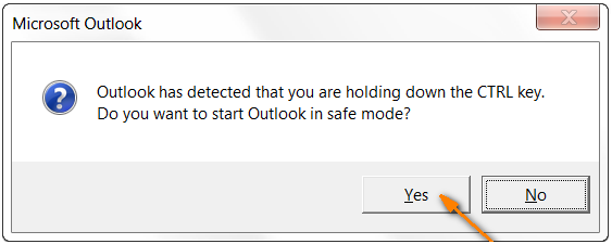 Starting Outlook in safe mode
