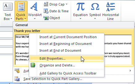 Right click on your desired Quick Part and choose Edit Properties