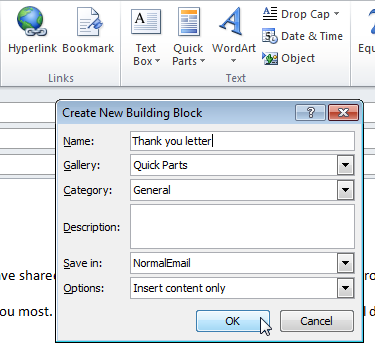 Quick Parts in Outlook: how to create, use and manage templates